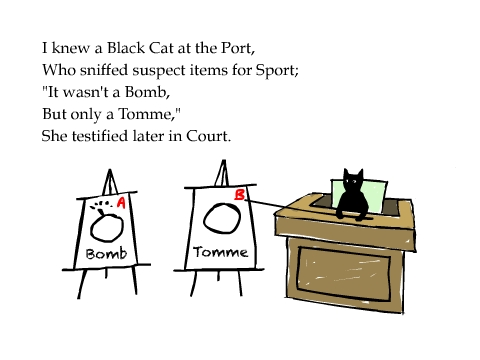 I knew a Black Cat at the Port, Who sniffed suspect items for Sport; 'It wasn't a Bomb, But only a Tomme,' She testified later in Court.