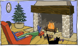 Tate and Pierre by fireplace
